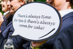 An image of a speech bubble saying there's always time for tea & there's always room for cake!
