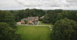 An aerial overhead shot of the Bartle Hall Country Hotel set in beautiful landscaped Gardens