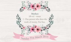 Mother: {th-er} - nou 1. One person who does the work of twenty. For Free.Sunday 31st March 2019