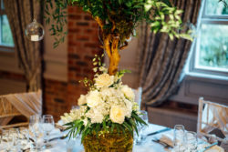 A photo showing a flower arrangement taken at the Fairclough Studios open evening at Bartle Hall Country Hotel