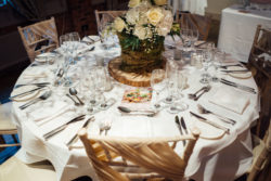 A decorated table with cutlery taken from the Fairclough Studios open evening at Bartle Hall Country Hotel